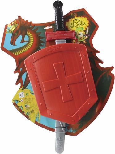 espada medieval com escudo p/meninos brinquedo infantil