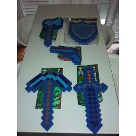 Espada Minecra Ft Kit Completo Pico Hacha Pistola Escudo