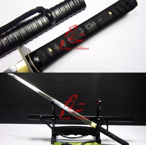 espada ninja ninjato forjada aço damasco ninjutsu