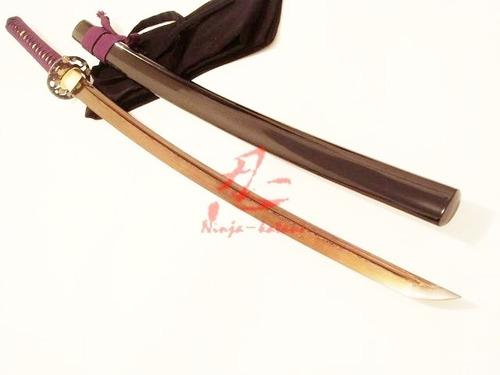 espada samurai katana com corte forjada aço rajado dobrado