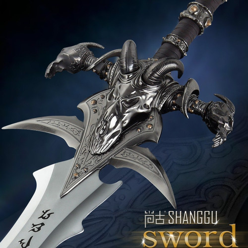 espada world of war craft frostmourne aço tamanho real 3