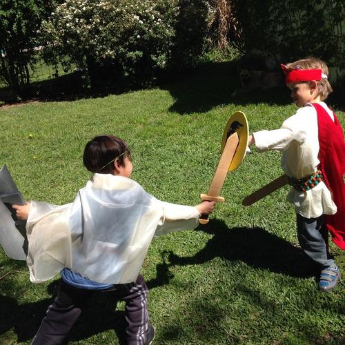 espada y escudo rey caballero medieval de madera