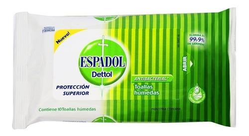 espadol dettol toallas antibacteriales x 10 unidades