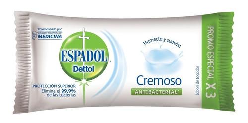 espadol - jabón antibacterial cremoso pack x 3 x 90 grs