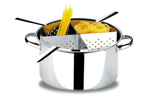 espagueteira em inox 31 x 16,5 cm 10 lts 4 divisões - brinox