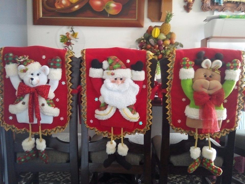 Espaldares para sillas de comedor navide os juego por 4 - Adornos navidenos para sillas ...