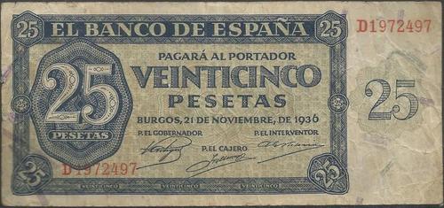 españa 25 pesetas 21 nov 1936 p99a