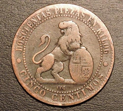 españa 5 centimos o centavos 1870 cobre  - mundocoin
