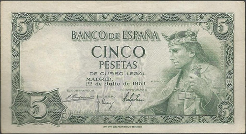 españa 5 pesetas 22 jul 1954 p146a