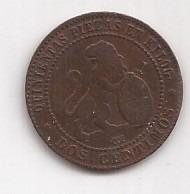 españa antigua moneda de 2 centimos año 1870 muy linda