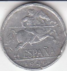 españa, antigua moneda de aluminio 5 cents. 1.940