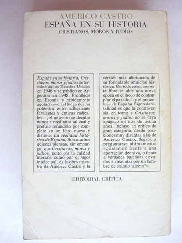 españa en su historia, américo castro, ed. crítica