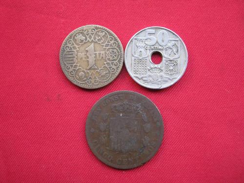 españa lote 3 monedas diferentes 1877 en adelante