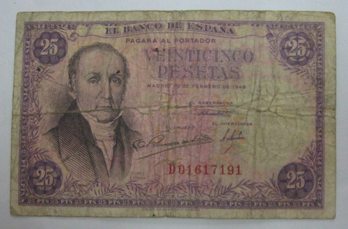 espanha linda cédula de 25 pesetas de 1946 - escassa
