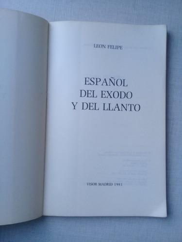 español del éxodo y del llanto león felipe visor 1981