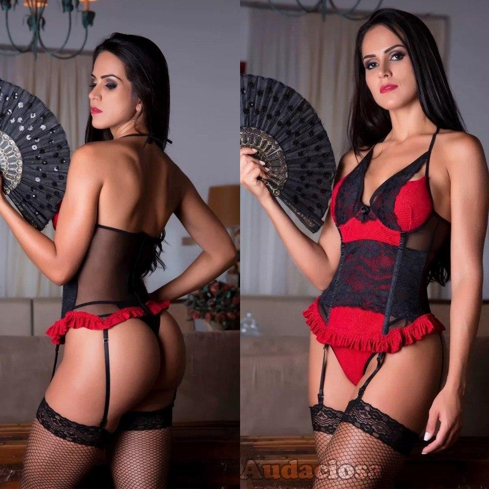 0b6ffe47387885 Espartilho Bojo Noite Nupcias Lingerie Vermelha E Preta Luxo