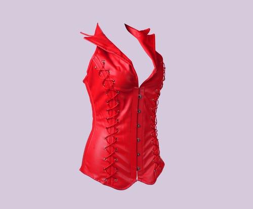espartilho corselete cinta modeladora sexy couro sintético