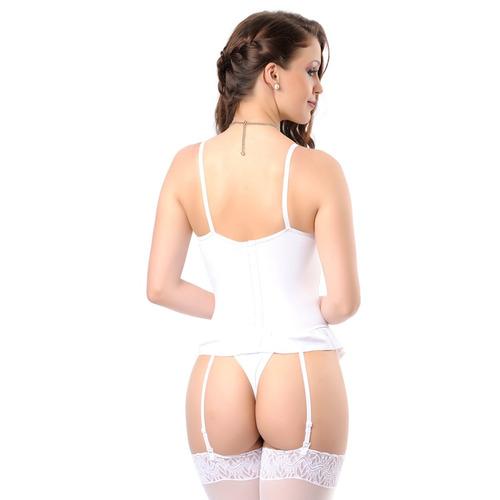espartilho lingerie branco drapeado mcl atacado