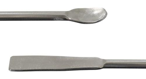 espatula colher de arame em aço inox 15 cm farmácia