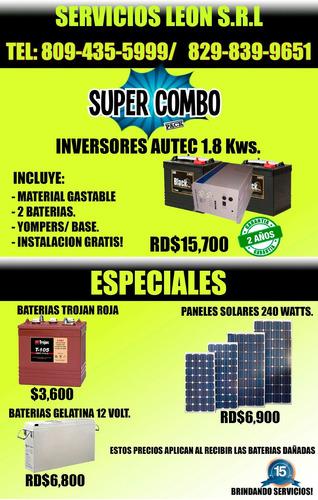 especial baterias trojan roja, inversores, paneles solares