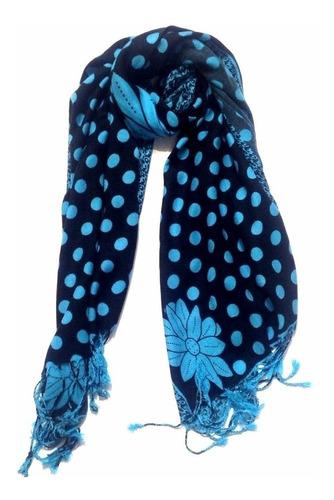 especial chal bufanda pashmina punto le sak negro azul claro