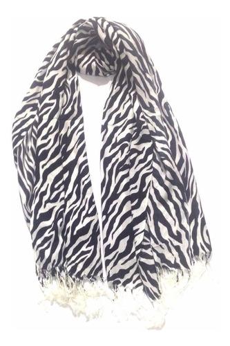 especial chal bufanda pashmina zebra le sak blanco con negro