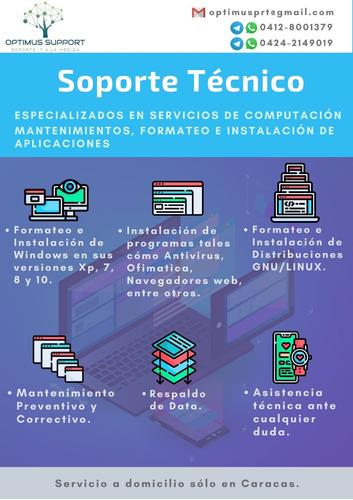 especialistas en soporte técnico de computadoras.