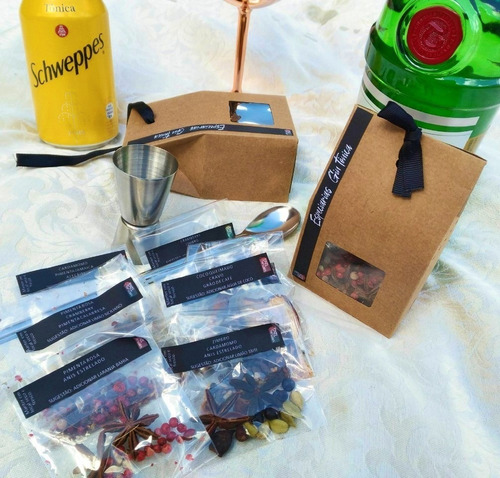 especiarias para gin tônica na caixa + dosador colher inox