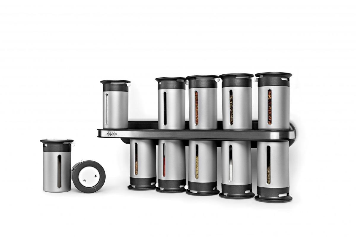 Especiero magnetico 12 frascos acero inoxidable gris pared for Bazar del cocinero