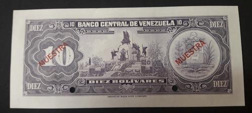 especimen billete 10 bs del 27 de enero de 1976 unc