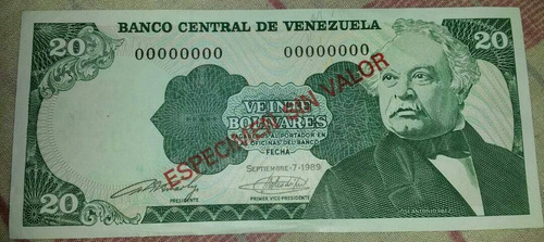 especimen billete 20 bs del 07 de septiembre de 1989 unc