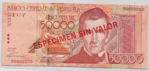 especimen billete 50000 bs agosto 24 1998 xf manchitas