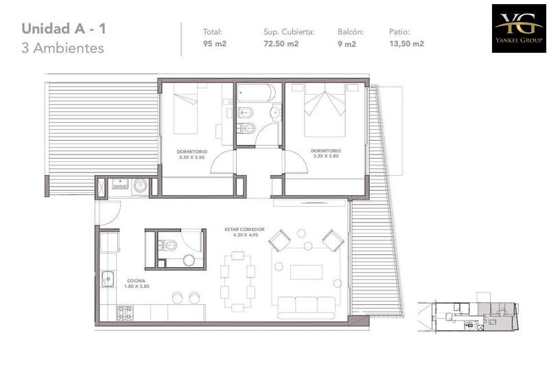 espectacular 3 ambientes con patio en flores - en construcción oportunidad