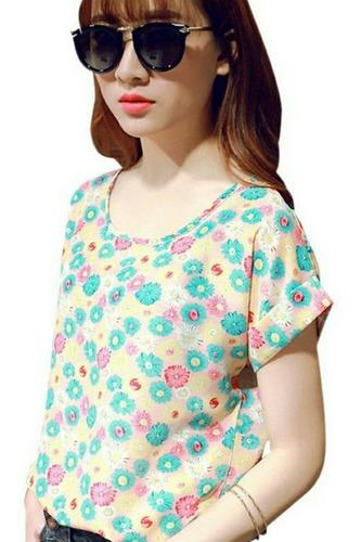 espectacular blusa estampada manga corta (ref 1108)