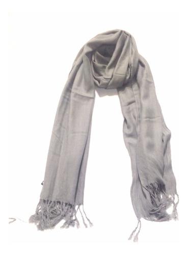espectacular bufanda pashmina chal le sak - gris claro