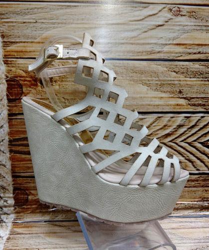 espectacular calzado plataforma  beige dama envío gratis