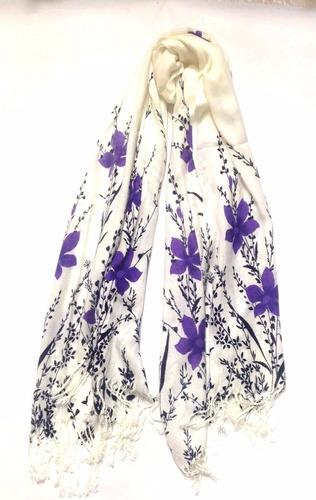 espectacular chal bufanda pashmina flor espiga le sak morado