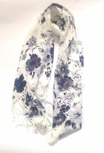 espectacular chal bufanda pashmina flores le sak gris