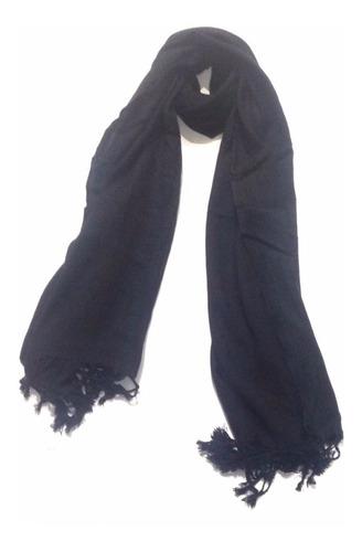 espectacular chal bufanda pashmina unicolor le sak - negro