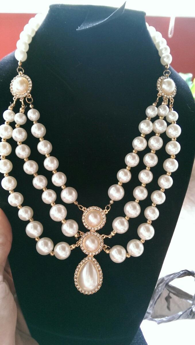 espectacular collar de perlas grandes