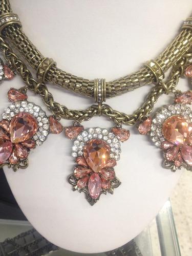 espectacular collar dorado con cristales rosa (nuevo)