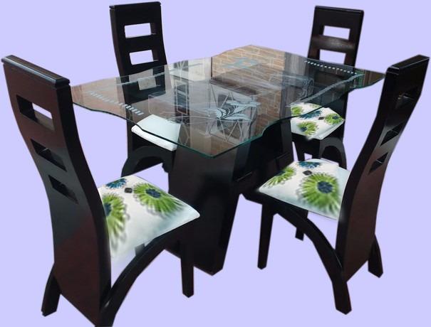 Espectacular comedor en madera con mesa de vidrio o de for Comedores de madera y vidrio