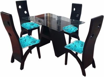 espectacular comedor en madera con mesa de vidrio o de mader