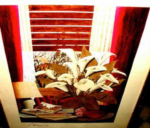 espectacular cuadro con flores calas firmado enmarcado