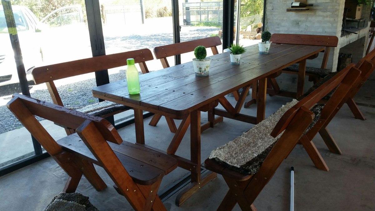 Espectacular mesa con bancos para barbacoa o cocina for Mesa cocina con banco