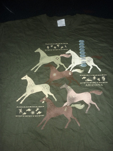 espectacular!! remera m/c orig. arizona horses usa green l
