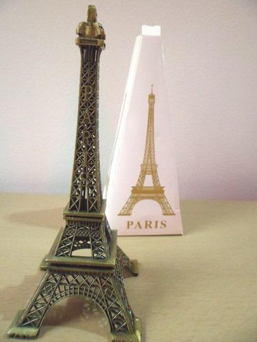 espectacular torre eiffel en acero de 14 cms coleccionable