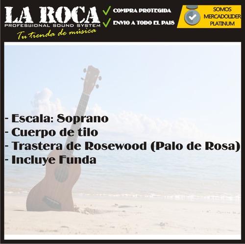 espectacular ukelele soprano cocoon kubw con funda - la roca