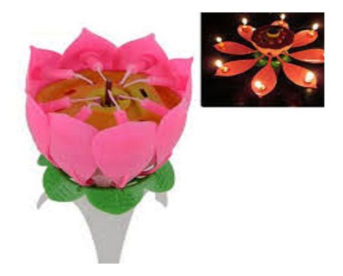 espectacular vela giratoria musical flor para cumpleaños