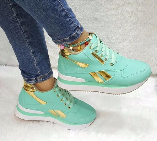 espectacular zapato botin deportivo dama verde moda calzado